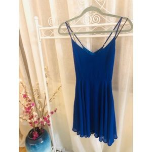 Adorable bright cobalt blue cross cross back dress